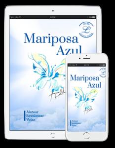 Dispositivos con portada e-book Mariposa Azul, fondo cielo y acuarela mariposa.